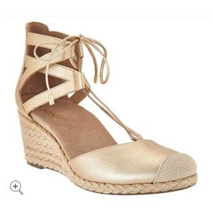 Vionic Gold Lace Up Calypso Wedge Espadrille